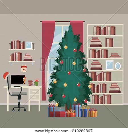 christmas home scene with window background and bookshelf of books with big christmas tree and gifts and office desktop with laptop vector illustration