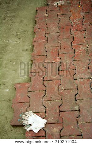 colored concrete paving slab with a beautiful high-quality texture close up paving slab
