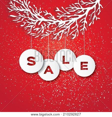 Christmas Sale for Promotion. Discount. Paper cut Baubles, Carve tree branch. Sale text in baubbles. Happy New Year. Blue. light red background. Vector Illustration