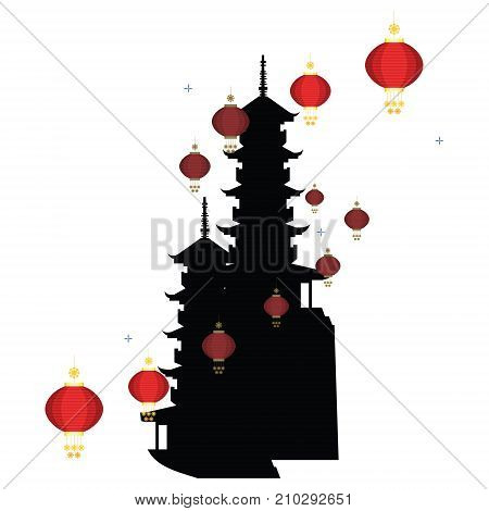 Chinese pagoda silhouette with chinese lamp on white background