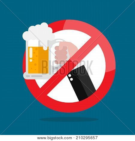 No alcohol allowed sign. Vector illustration graphic design