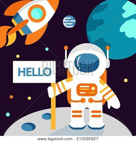 Astronaut on the moon in flat style, vector illustration, outer space