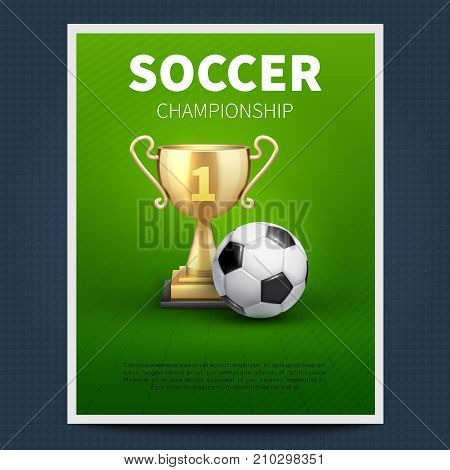 Soccer or european football vector sports poster template. Illutsration of football championship, team sport tournament