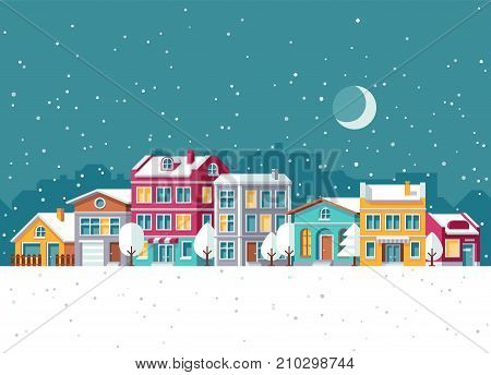 Snowfall in winter town with small houses cartoon vector illustration. Christmas town with home in snow, winter city street holidays concept