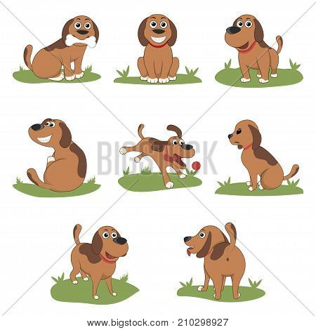 Puppy Installed Funny Cartoon Puppy in Different Poses. Puppy in the box, in the hat of Santa. Vector Illustration
