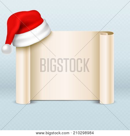 Blank paper parchment scroll with santa claus red hat. Xmas holiday card vector template. Christmas message with santa hat illustration