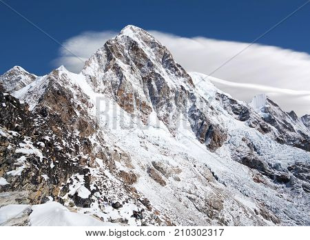 Mount Pumori (Pumo Ri 7161 m) in Everest region Sagarmatha National Park in the Nepal Himalaya. Pumori lies just eight kilometres west of Mount Everest. Pumori which means