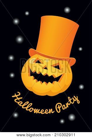 Vector illustration. A pumpkin in an orange top hat on a black background. Vertical format text 'Halloween party'.