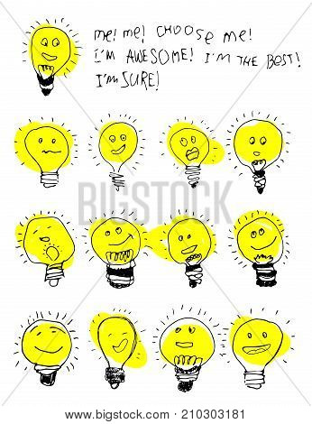 Set of bulb icons, stylized kids drawing. Childish text about choosing an idea, cute ison. Children drawing of lamps with cute cartoon faces. Creative hand draw lightbulb illustration isolated on white background.