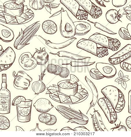 Seamless pattern with traditional mexican food. Vector pictures set. Illustration of mexican food pattern, pepper chili and tequila background