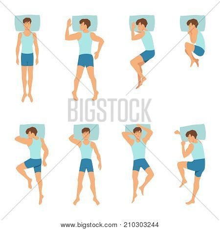 Different positions of sleeping man. Top view vector illustrations. Man position comfortable for sleep and relax