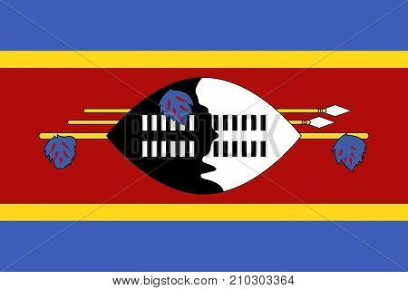 Official Vector Flag Of Swaziland ( Kingdom Of Eswatini )