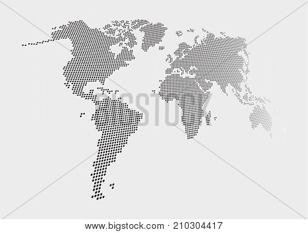 Distorted And Dotted Style World Map On Gray Background