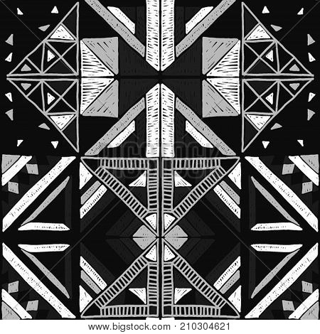 Seamless geometric African black and white pattern. Ethnic ornament on the carpet. Aztec style. Tribal ethnic vector texture. Embroidery on fabric. Indian, Mexican, folk pattern.