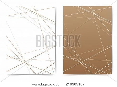 Thin line geometrical pattern folder cover template. Brochure collection with contemporary pattern. Magazine cover or annual report - A4 size. Business science design book layout. Vector illustration