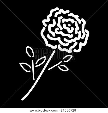 Single rose sign. Image of floral. White icon isolated on black background. Bloom flower symbol. Logo for romantic. Florist content. Mark of blossom. Stock vector illustration