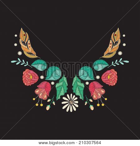 Vector embroidery neckline design. Colored floral pattern for neck print with decorative embroidered flowers and  leaves. Ethnic folk ornament