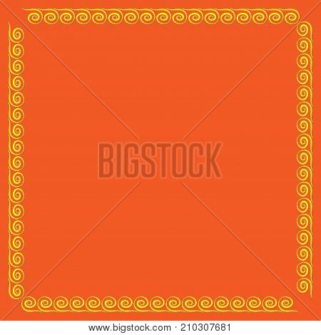 Frame yellow. Colorful framework isolated on orange background. Decoration concept. Modern art scoreboard. Border from waves. Decoration banner rim. Stock vector illustration