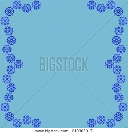 snow frame cold framework isolated on blue background decoration new year concept modern