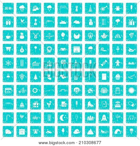 100 childrens parties icons set in grunge style blue color isolated on white background vector illustration