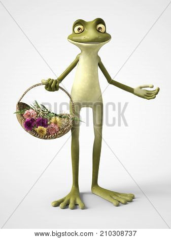 3D rendering of a smiling cartoon frog holding a basket of carnation flowers. White background.