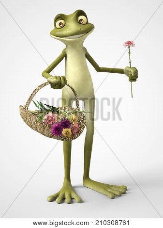 3D rendering of a smiling cartoon frog holding a carnation in one hand and a basket of carnation flowers in the other. White background.