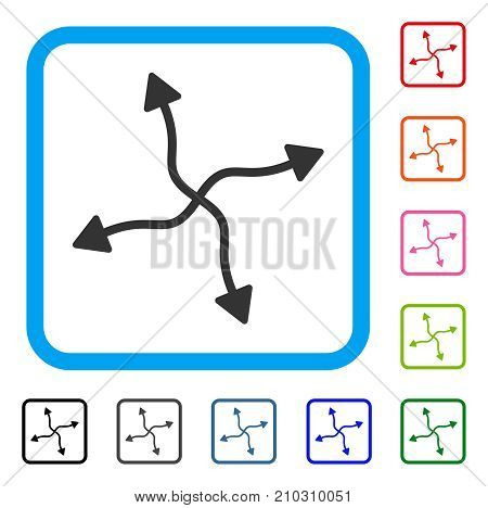 Curve Arrows icon. Flat gray pictogram symbol in a light blue rounded square. Black, gray, green, blue, red, orange color variants of Curve Arrows vector. Designed for web and software interfaces.