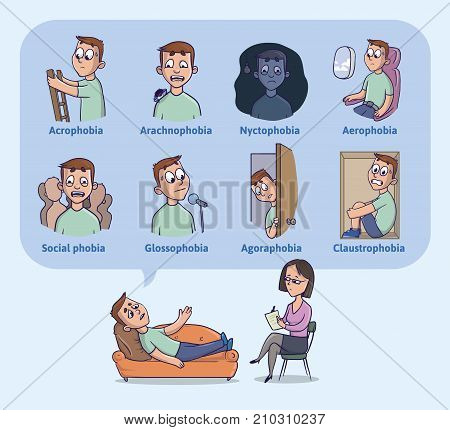 The most common human phobias. Fear of heights, darkness, flying, spiders, closed spaces, public speaking and others. The young man on reception at psychologist. Vector Illustration.
