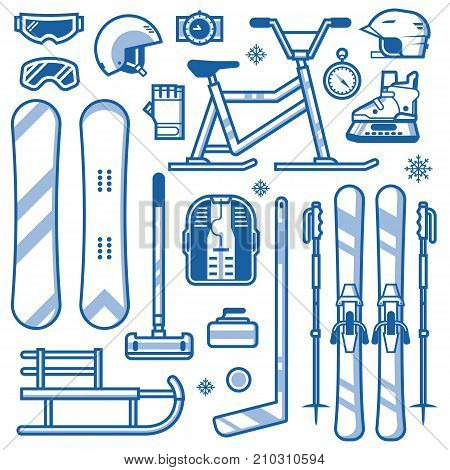 Winter sports icon set in line art. Ski, skates, snowmobile, hockey, curling, snowboard and sleds. Snow games equipment and gear outline icons. Snowboarding and skiing helmets, goggles and gloves.