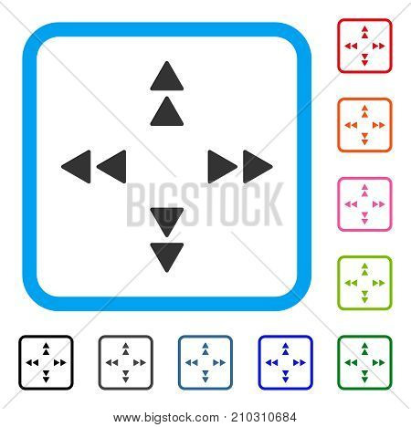 Move Out icon. Flat grey pictogram symbol in a light blue rounded frame. Black, gray, green, blue, red, orange color versions of Move Out vector. Designed for web and app interfaces.
