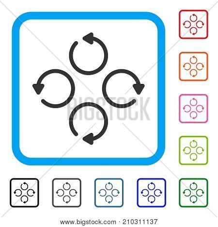Rotation icon. Flat grey pictogram symbol in a light blue rounded rectangular frame. Black, gray, green, blue, red, orange color versions of Rotation vector. Designed for web and application UI.