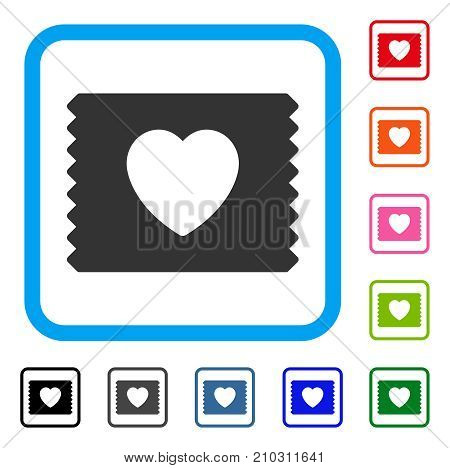 Heart Condom Pack icon. Flat gray pictogram symbol inside a light blue rounded rectangle. Black, gray, green, blue, red, orange color additional versions of Heart Condom Pack vector.
