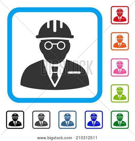Blind Engineer icon. Flat gray iconic symbol in a light blue rounded square. Black, gray, green, blue, red, orange color variants of Blind Engineer vector. Designed for web and application UI.