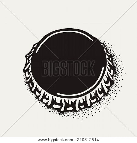 Craft beer bottle cap in vintage style. Engraving illustration in hipster style isolated on grunge background.