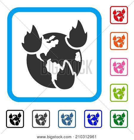 Earth Disasters icon. Flat grey pictogram symbol inside a light blue rounded square. Black, gray, green, blue, red, orange color variants of Earth Disasters vector.