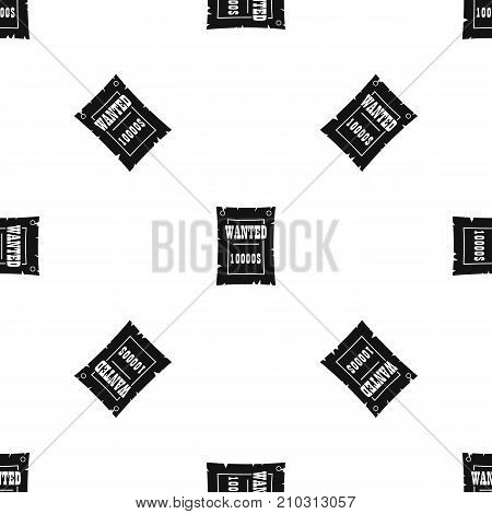 Vintage wanted poster pattern repeat seamless in black color for any design. Vector geometric illustration
