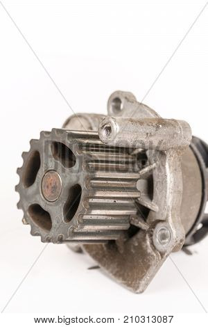 Old Used Dirty Car Water Pump Isolated Above White Background