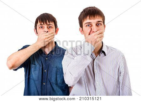 Two Guys Close his Mouth on the White Background