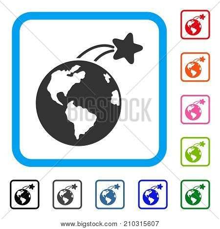 Rising Satellite On Earth icon. Flat grey pictogram symbol inside a light blue rounded square. Black, gray, green, blue, red, orange color additional versions of Rising Satellite On Earth vector.