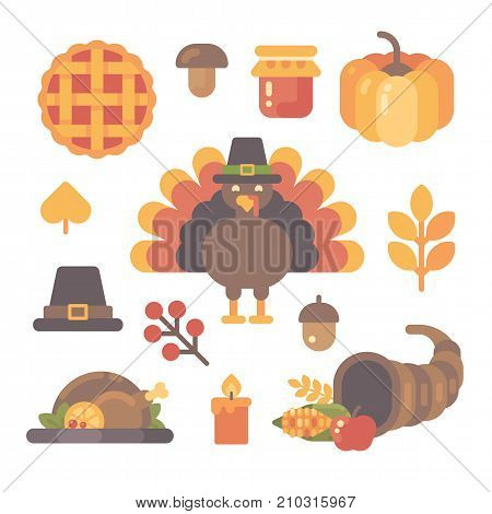 Set Of Thanksgiving Flat Icons On White Background. Various Autumn Items