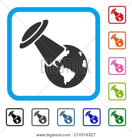 UFO Explores Earth icon. Flat gray iconic symbol inside a light blue rounded rectangular frame. Black, gray, green, blue, red, orange color variants of UFO Explores Earth vector.