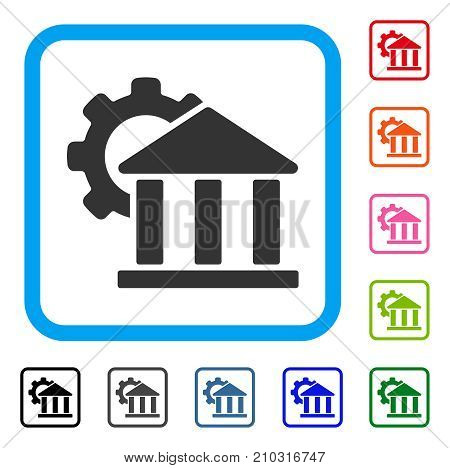 Bank Settings icon. Flat grey pictogram symbol inside a light blue rounded square. Black, gray, green, blue, red, orange color additional versions of Bank Settings vector.