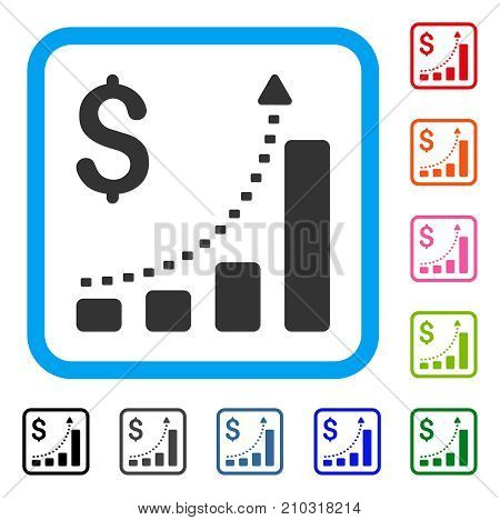 Business Bar Chart Positive Trend icon. Flat grey iconic symbol in a light blue rounded squared frame. Black, gray, green, blue, red, orange color variants of Business Bar Chart Positive Trend vector.