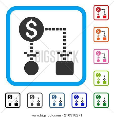 Cashflow Scheme icon. Flat gray iconic symbol inside a light blue rounded rectangle. Black, gray, green, blue, red, orange color additional versions of Cashflow Scheme vector.