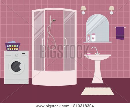 Bathroom in a purple color. There is a shower cabin, a wash basin, a mirror, a washing machine and other objects in the picture. Vector flat illustration.