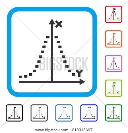 Dotted Gauss Plot icon. Flat grey pictogram symbol in a light blue rounded square. Black, gray, green, blue, red, orange color versions of Dotted Gauss Plot vector.