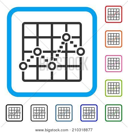 Dotted Line Grid Plot icon. Flat grey iconic symbol in a light blue rounded square. Black, gray, green, blue, red, orange color variants of Dotted Line Grid Plot vector.