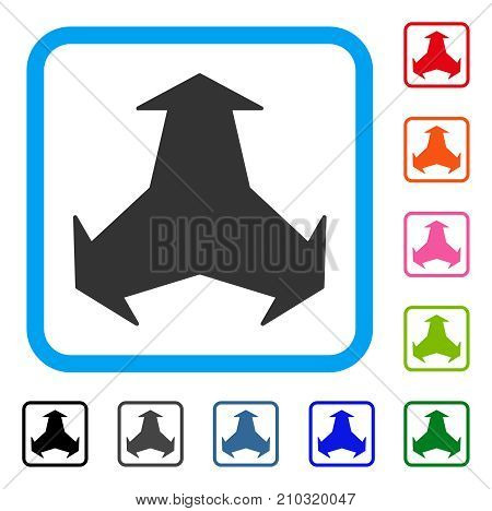 Directions icon. Flat gray iconic symbol inside a light blue rounded square. Black, gray, green, blue, red, orange color additional versions of Directions vector.