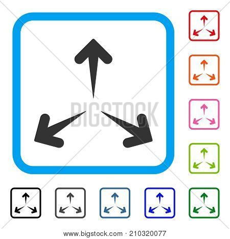 Expand Arrows icon. Flat gray pictogram symbol in a light blue rounded squared frame. Black, gray, green, blue, red, orange color variants of Expand Arrows vector.