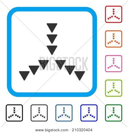 Inside Direction icon. Flat grey pictogram symbol inside a light blue rounded squared frame. Black, gray, green, blue, red, orange color variants of Inside Direction vector.